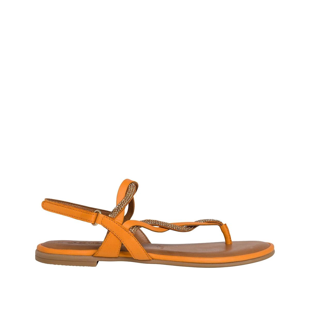 Босоножки LaRedoute Кожаные Kim 36 оранжевый
