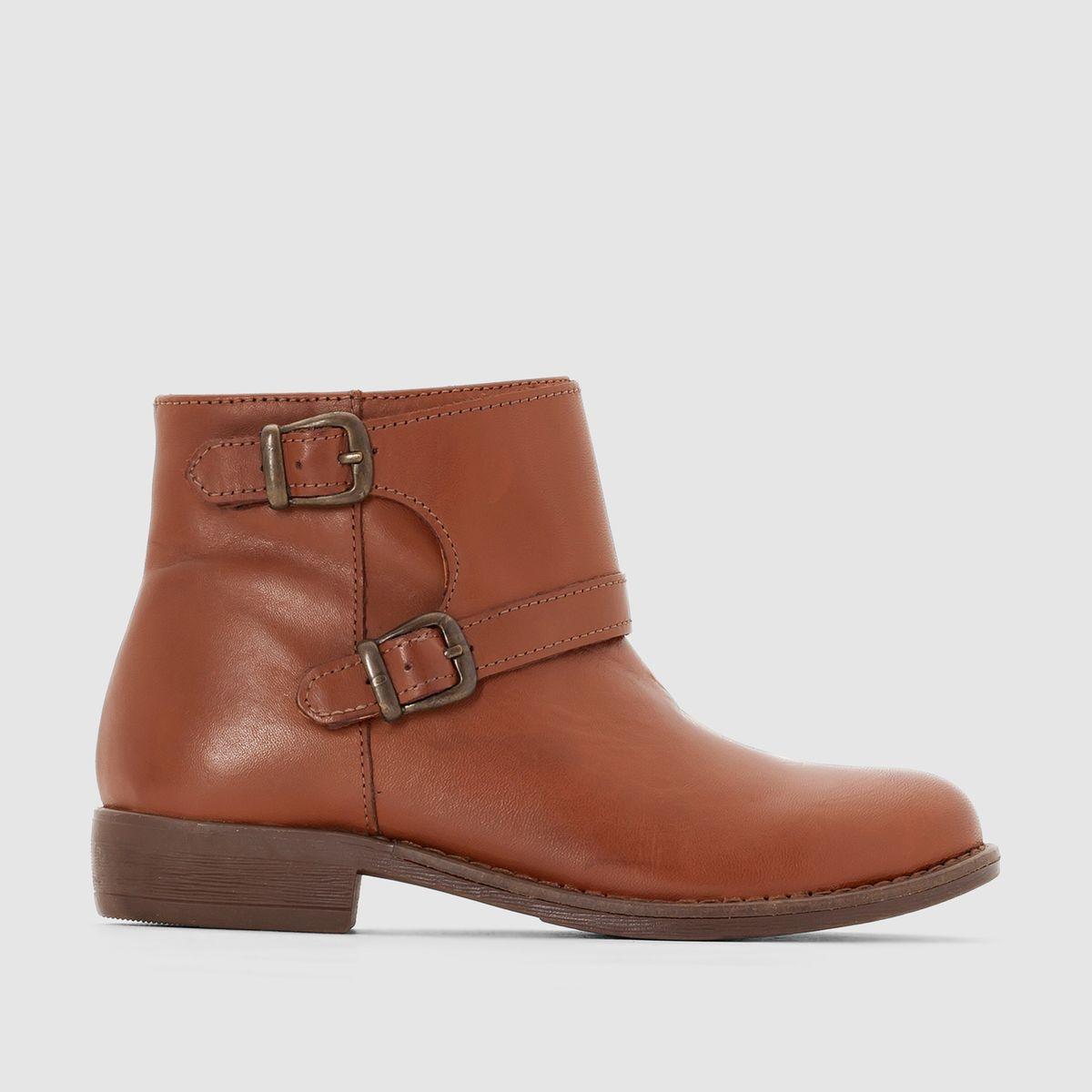 Boots cuir (vachette), zippées et double bride