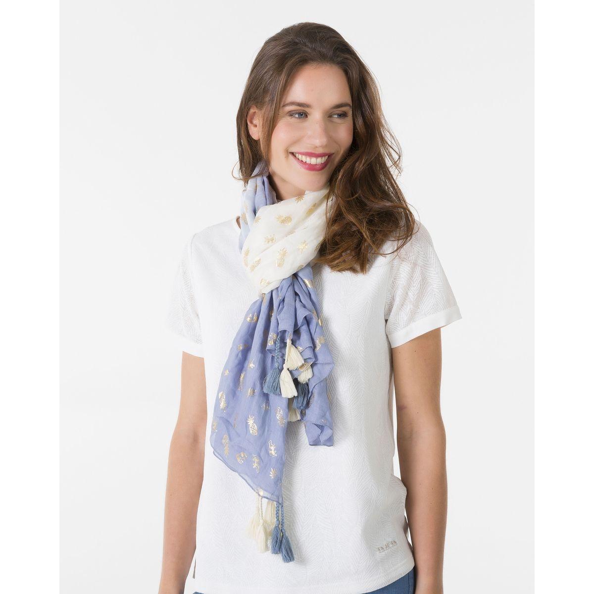 Etole imprimé Fil textile pompons - gris clair - ciel / CIEL