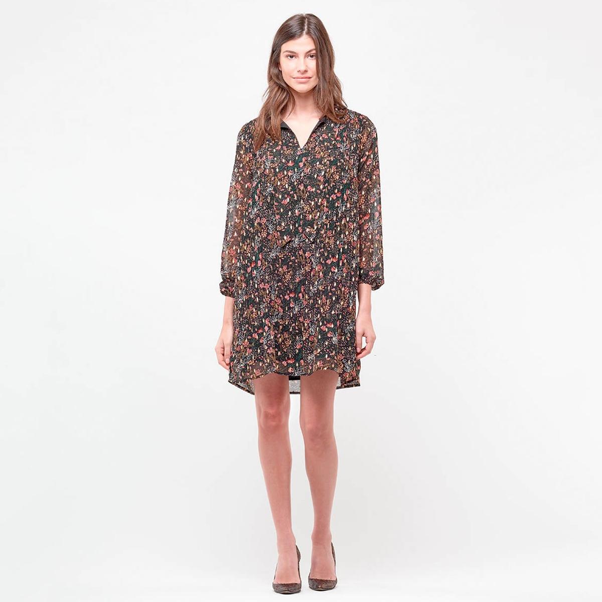 цена Платье La Redoute Прямое с V-образным вырезом и цветочным рисунком S черный онлайн в 2017 году