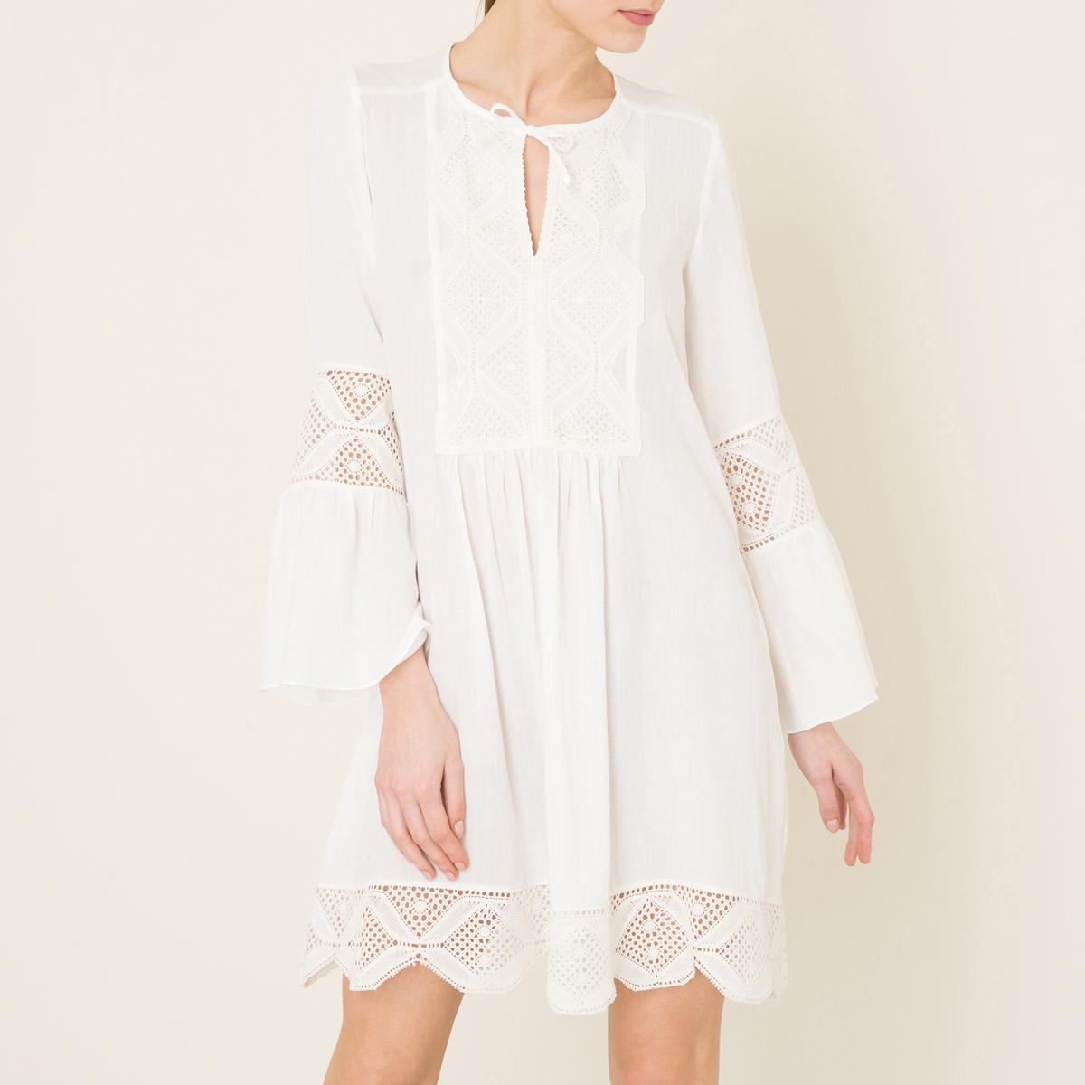 Платье NANOUСостав и описание Материал : 50% хлопка, 50% вискозыДлина : 95 см. для размера 36Марка : VALERIE KHALFON<br><br>Цвет: белый