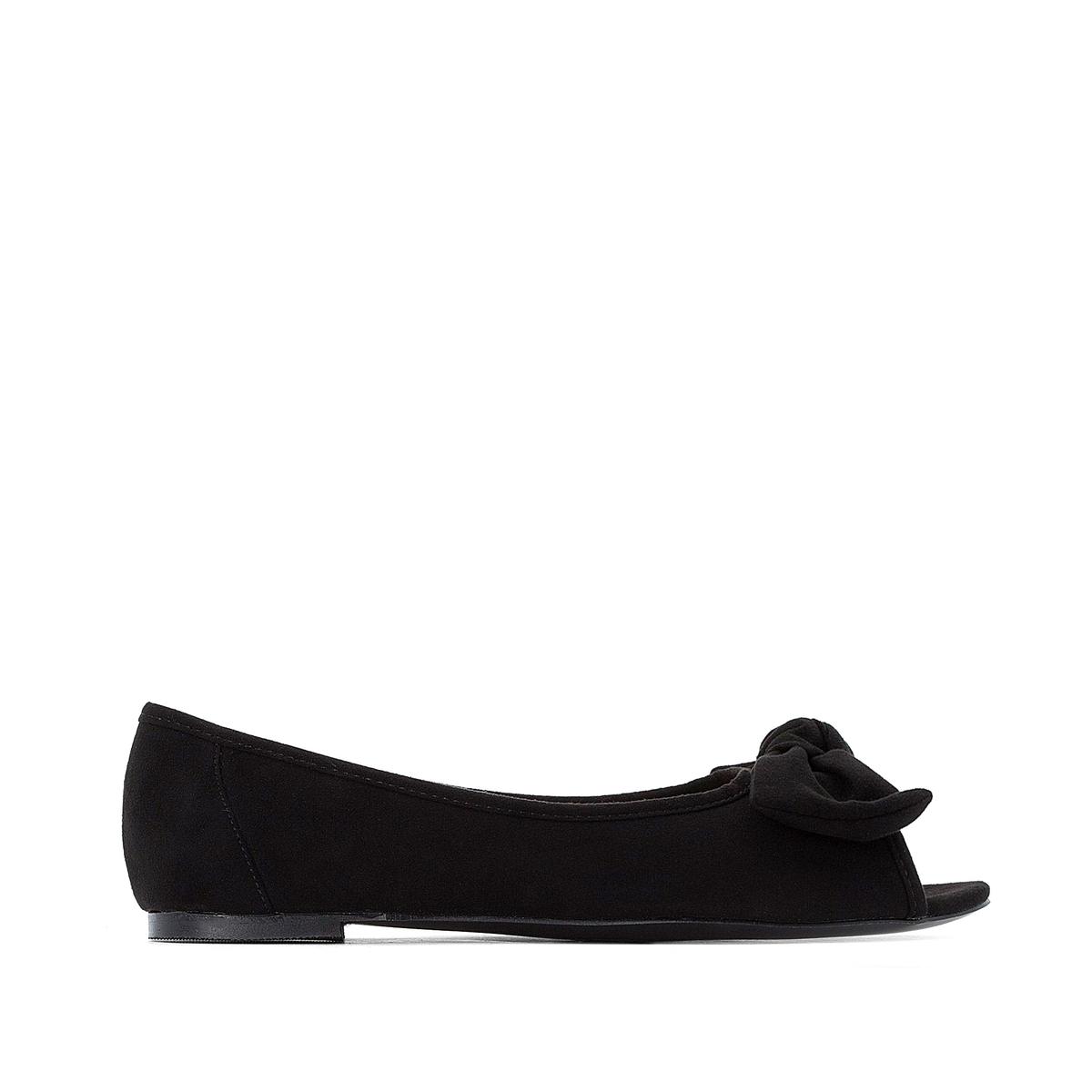 цена Балетки La Redoute С открытым мыском на плоском каблуке для широкой стопы размеры - 38 черный онлайн в 2017 году