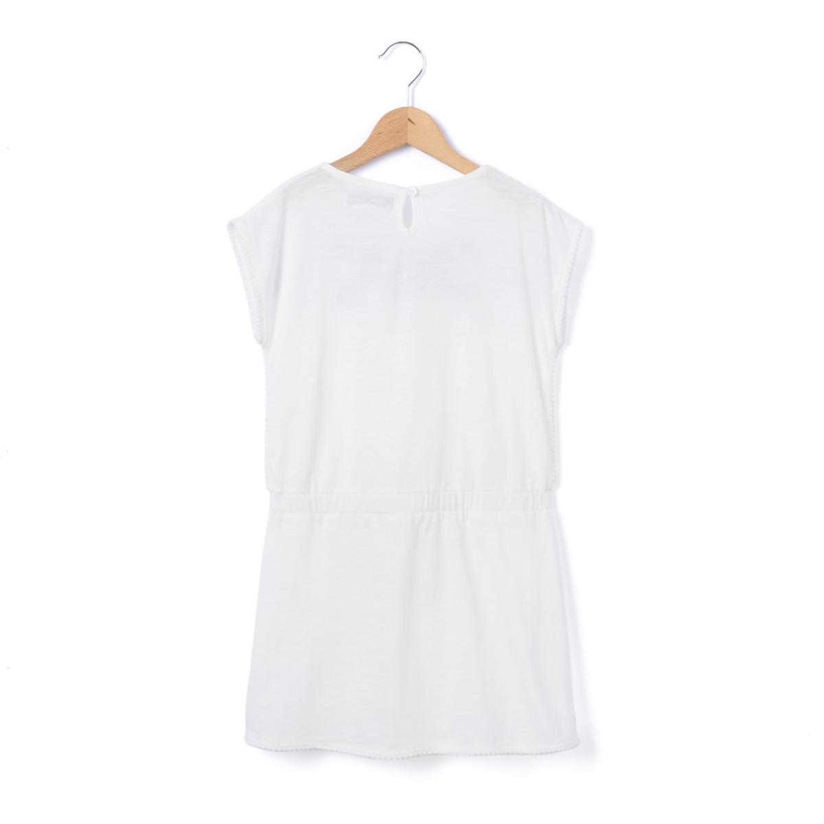 Платье-футляр с вышивкой 3-12 летПлатье-футляр. Вышивка на вырезе и рукавах . Круглый вырез. Завязки с помпонами на поясе  . Застежка на пуговицу, вырез-капля сзади .Состав и описание : Материал         55% хлопка, 40% полиэстера, 5% эластана Марка          abcdR Уход :Машинная стирка при 30°C с вещами схожих цветовСтирать, предварительно вывернув наизнанкуСухая чистка и машинная сушка запрещеныНе гладить<br><br>Цвет: белый<br>Размер: 12 лет -150 см