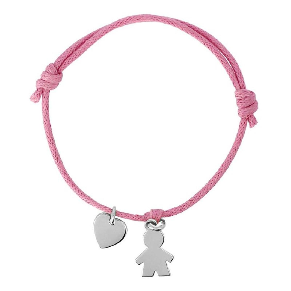 Bracelet Cordon Rose Longueur réglable Pampille Petit Garçon Coeur Argent 925