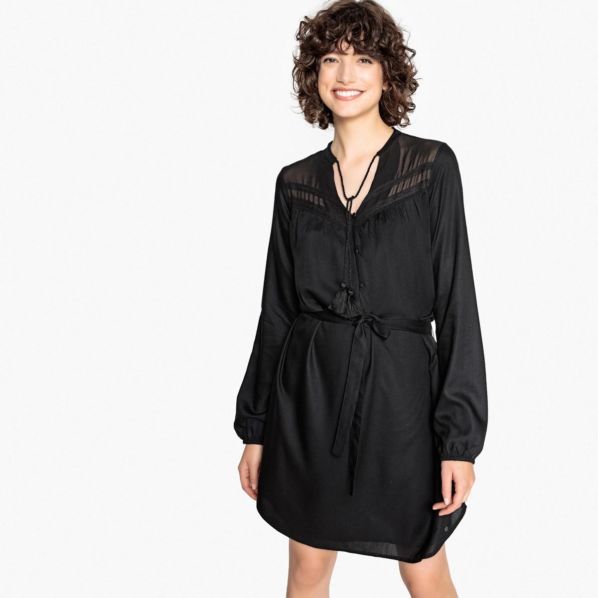 Платье La Redoute С круглым вырезом длина миди S черный свитшот la redoute с круглым вырезом и вышивкой s черный