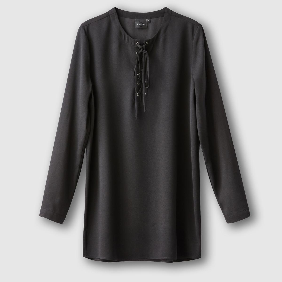 Блузка длинная DANA SHIRTБлузка DANA SHIRT от B .YOUNG    . Блузка прямого покроя, длинная . Длинные рукава.  V-образный вырез с завязками.Состав и описание :Материал : 100% полиэстерМарка : B.YOUNG<br><br>Цвет: черный<br>Размер: 38 (FR) - 44 (RUS)