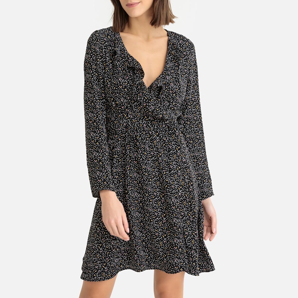 Платье La Redoute С запахом с рисунком LALY TIPOIS XS черный