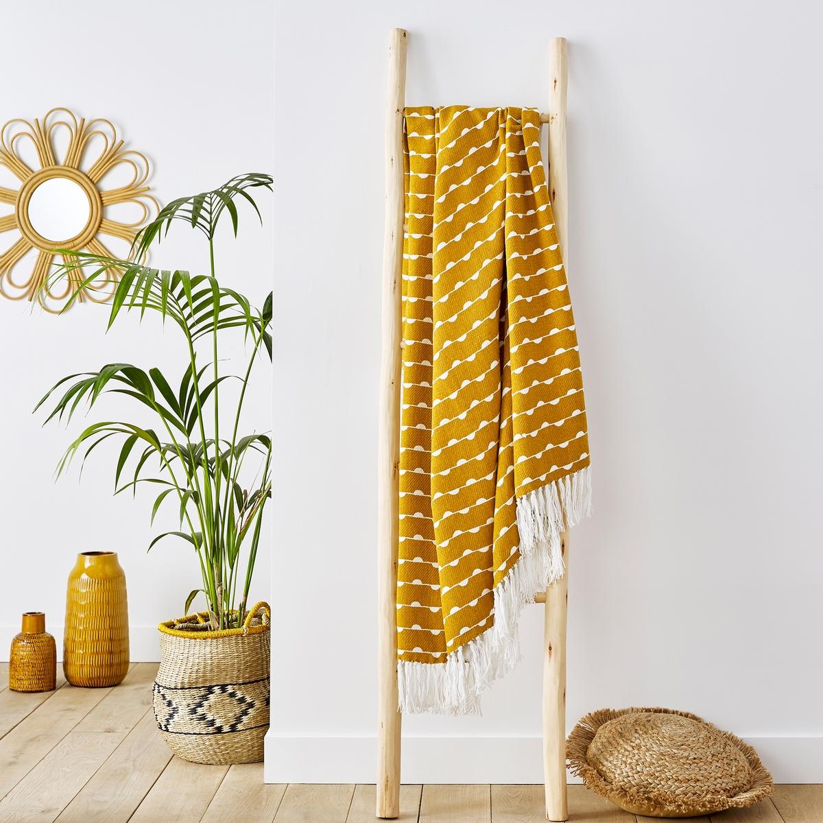 Фото - Плед LaRedoute С принтом Irun единый размер желтый скатерть laredoute с принтом и пропиткой 100 хлопок irun 150 x 250 см желтый