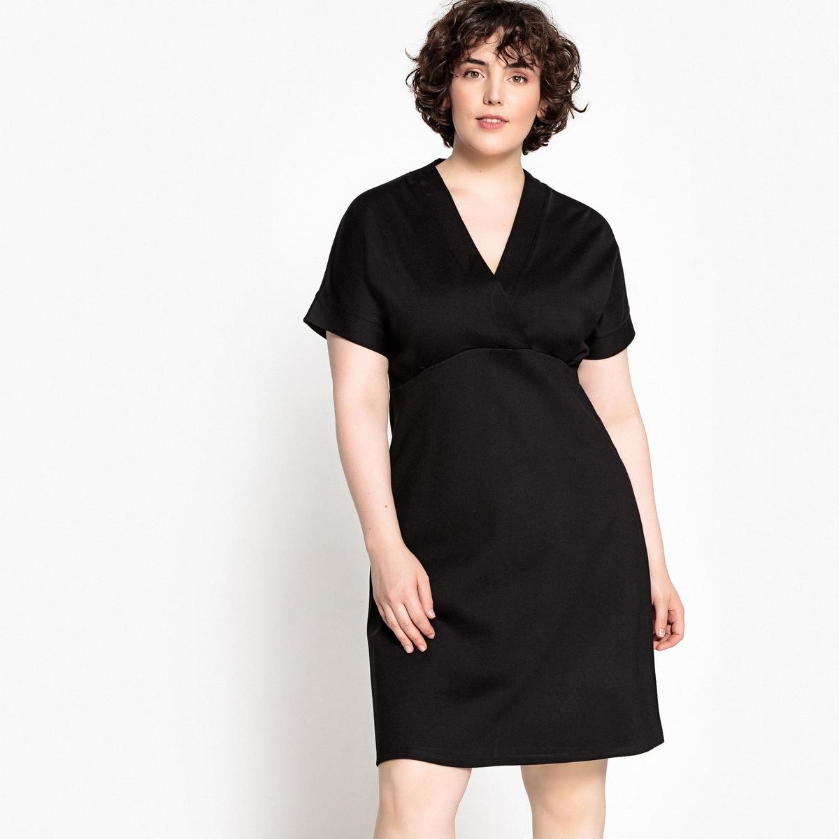 Платье-футляр с V-образным вырезом, длина миди, короткие рукава