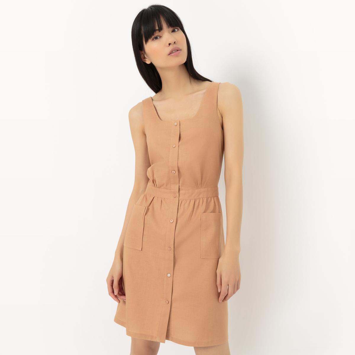 Платье-фартук из хлопка и льна