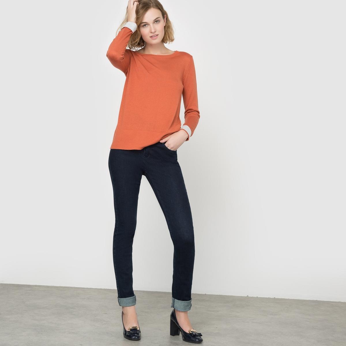 Пуловер двухцветный, шерсть в составе