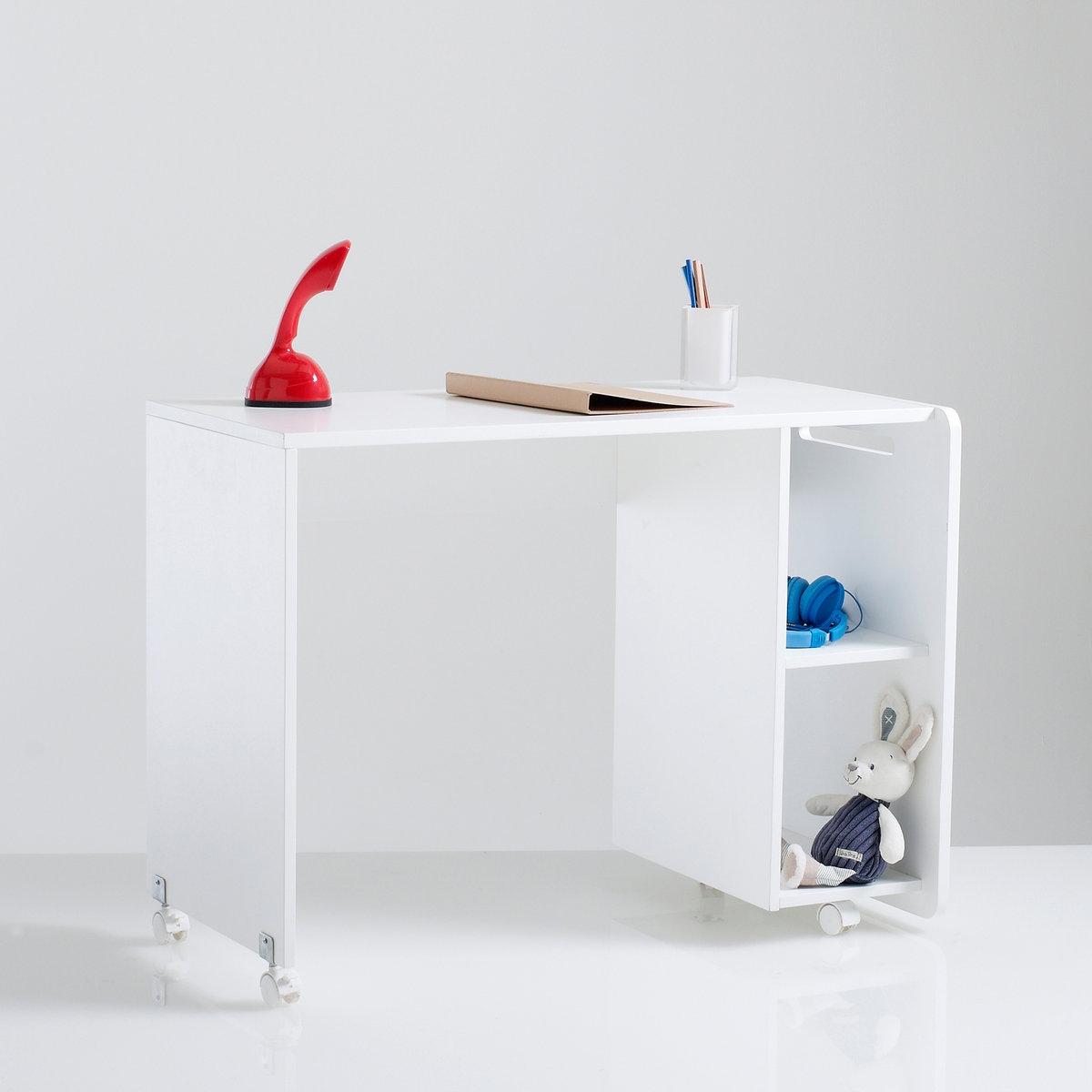 Письменный стол DydusПисьменный стол + 2 ниши для хранения Dydus. Описание письменного стола Dydus:4 колеса.2 ниши для хранения книг и тетрадей.Дно и боковые панели можно устанавливать в правую и левую строны.Встроенная ручка.Характеристики письменного стола Dydus :МДФ.Лакированная отделка из нитроцеллюлозы.Найдите другие модули для хранения Dydus и кровать Dydus на сайте laredoute.ru.Размеры письменного стола Dydus:Ширина: 94 см.Высота: 70 см.Глубина: 50 см.Полезное пространство стола: Ш.94 x Г.50 см.Внутренние размеры ниши для хранения: Ш.22 x В.30 x Г.50 смРазмеры и вес с упаковкой:1 упаковка.Ш.102 x В.13,5 x Г.56 см.21 кг.Доставка:Для письменного стола Dydus предусмотрена самостоятельная сборка. Доставка до квартиры!Внимание! Убедитесь, что товар возможно доставить на дом, учитывая его габариты (проходит в двери, по лестницам, в лифты).<br><br>Цвет: белый<br>Размер: единый размер