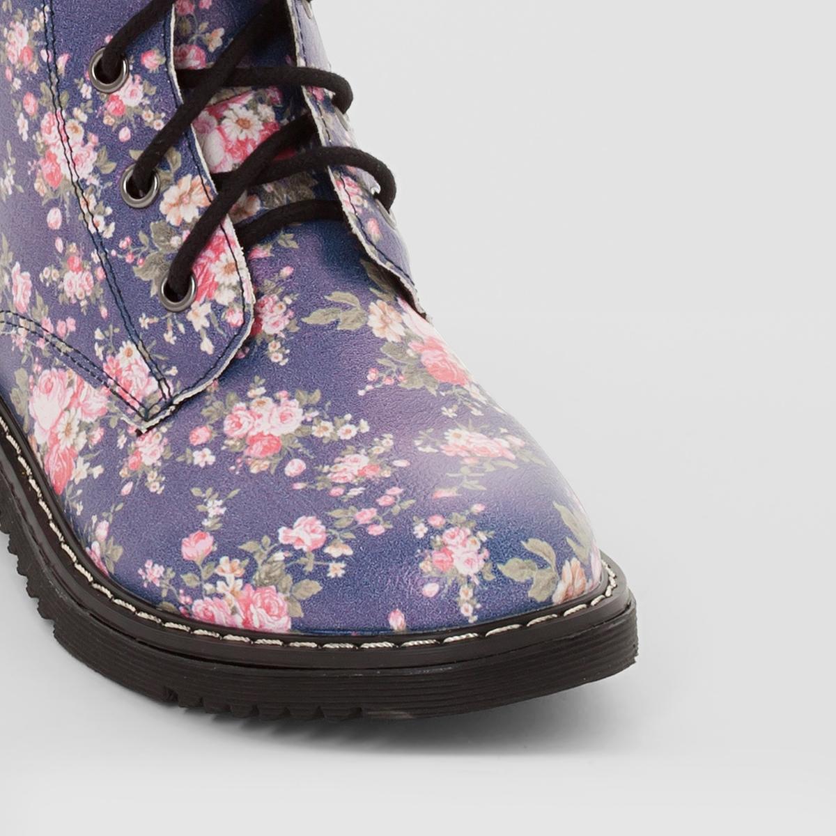 Ботинки с цветочным рисункомБотинки с цветочным рисунком, abcdR. Верх : синтетикаПодкладка : текстильСтелька : текстильПодошва : из эластомера Застежка : шнуровка и молния (молния до 35 размера)Ботинки в бойцовском стиле, украшенные цветочным рисунком : прекрасная обувь для ношения в школе и для прогулок для подростков !<br><br>Цвет: цветочный рисунок<br>Размер: 27