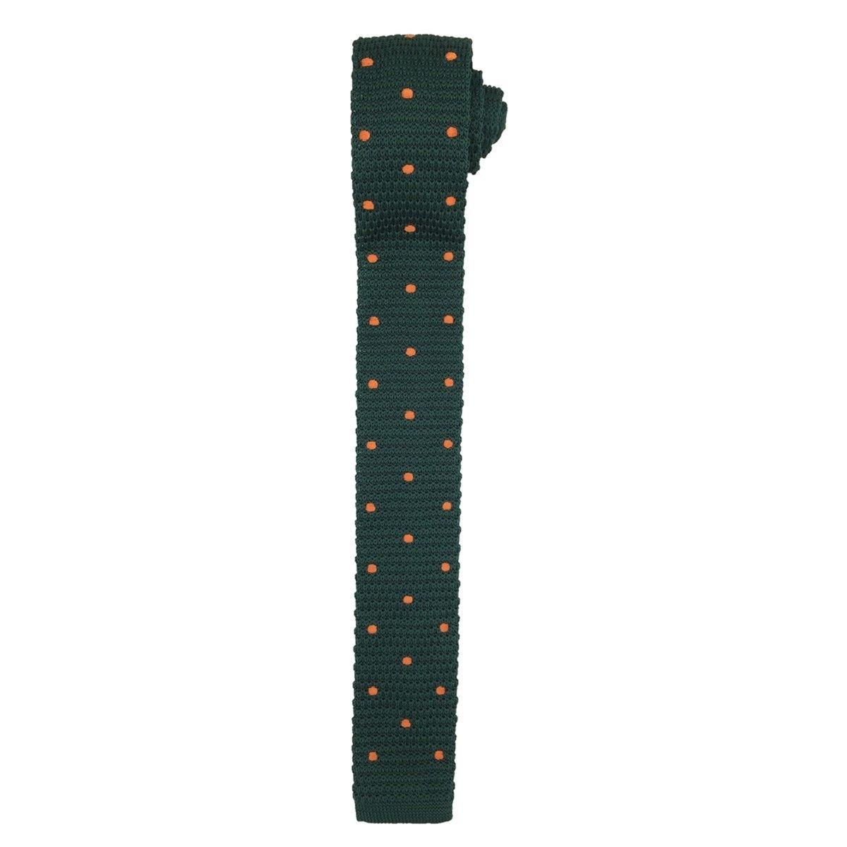 Cravate tricot vert anglais pois oranges