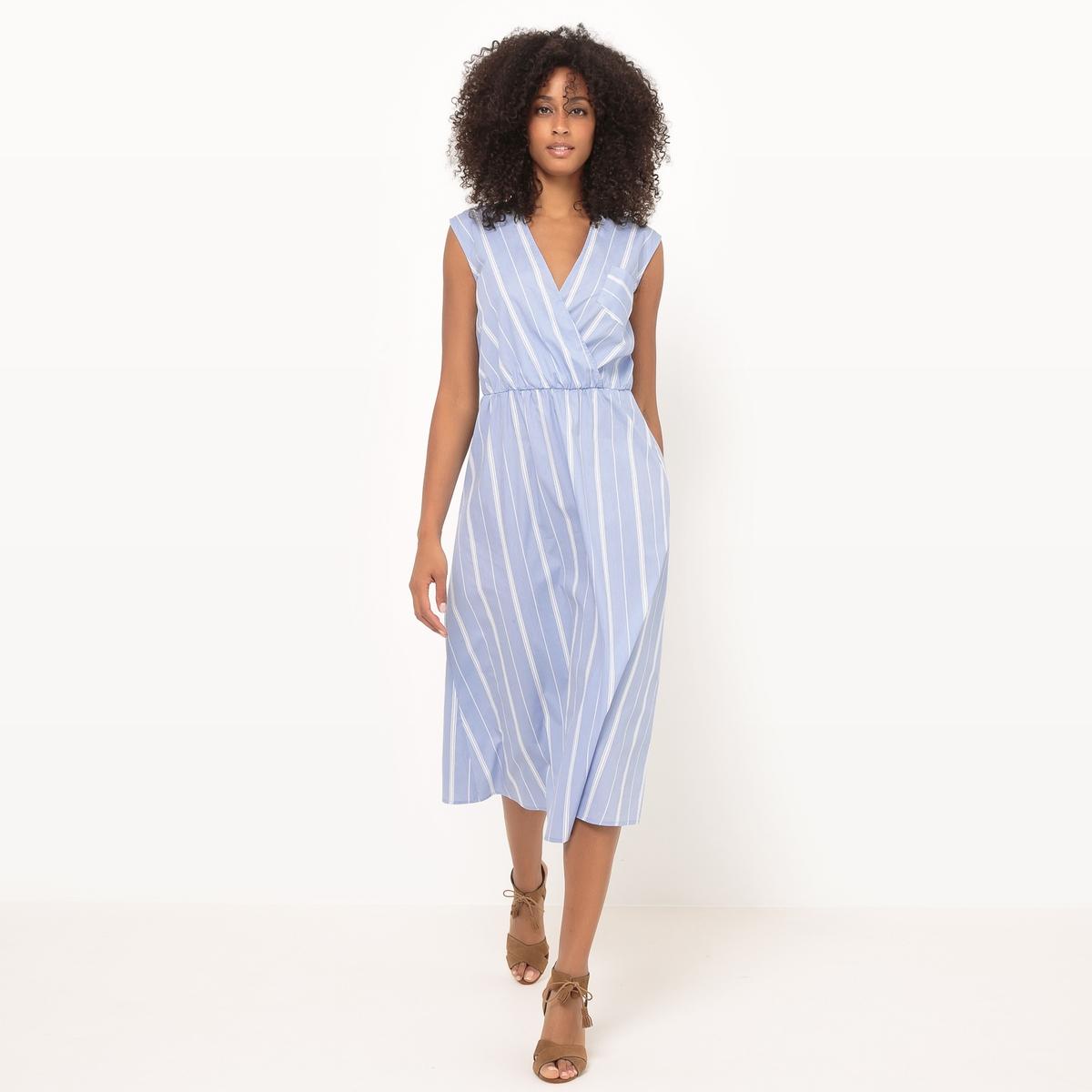 Платье в полоску, без рукавов, длина миди