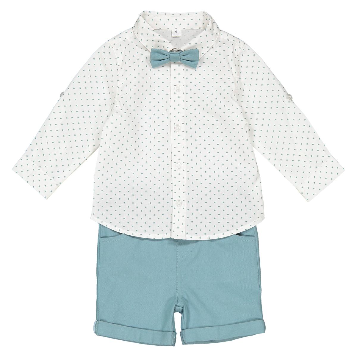 Фото - Комплект бермуды рубашка бантик LaRedoute 3 мес - 3 лет 3 года - 94 см синий юбка laredoute прямая из легкого денима 3 12 лет 3 года 94 см синий