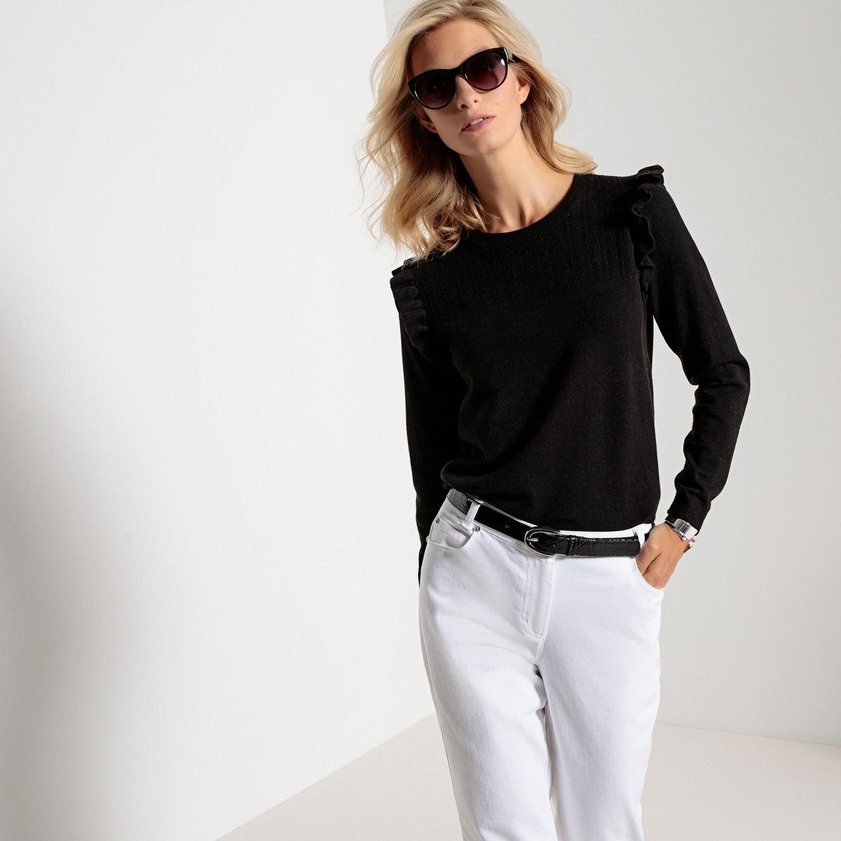 Пуловер из тонкого трикотажа с круглым вырезом и длинными рукавами пуловер с длинными рукавами