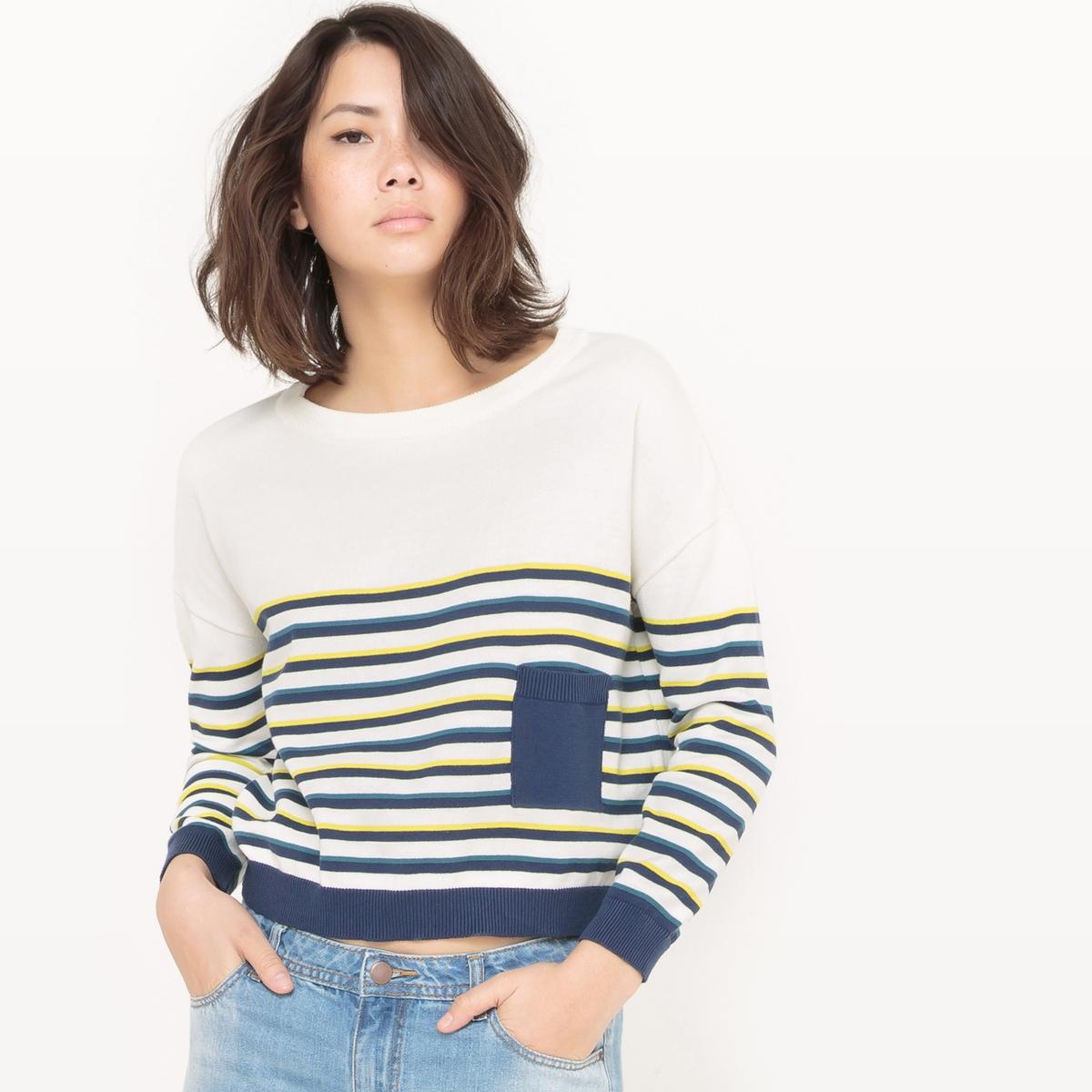 Пуловер укороченный в полоску