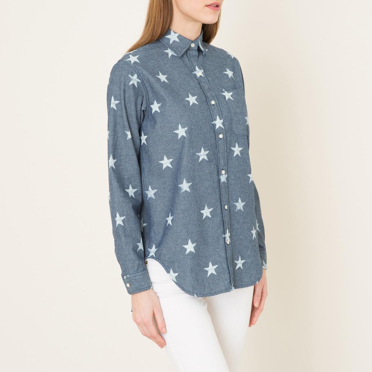 Рубашка из ткани шамбреСостав и описание    Материал : 100% хлопковой ткани шамбре   Марка : Denim and Supply Ralph Lauren<br><br>Цвет: синий/ белый<br>Размер: L