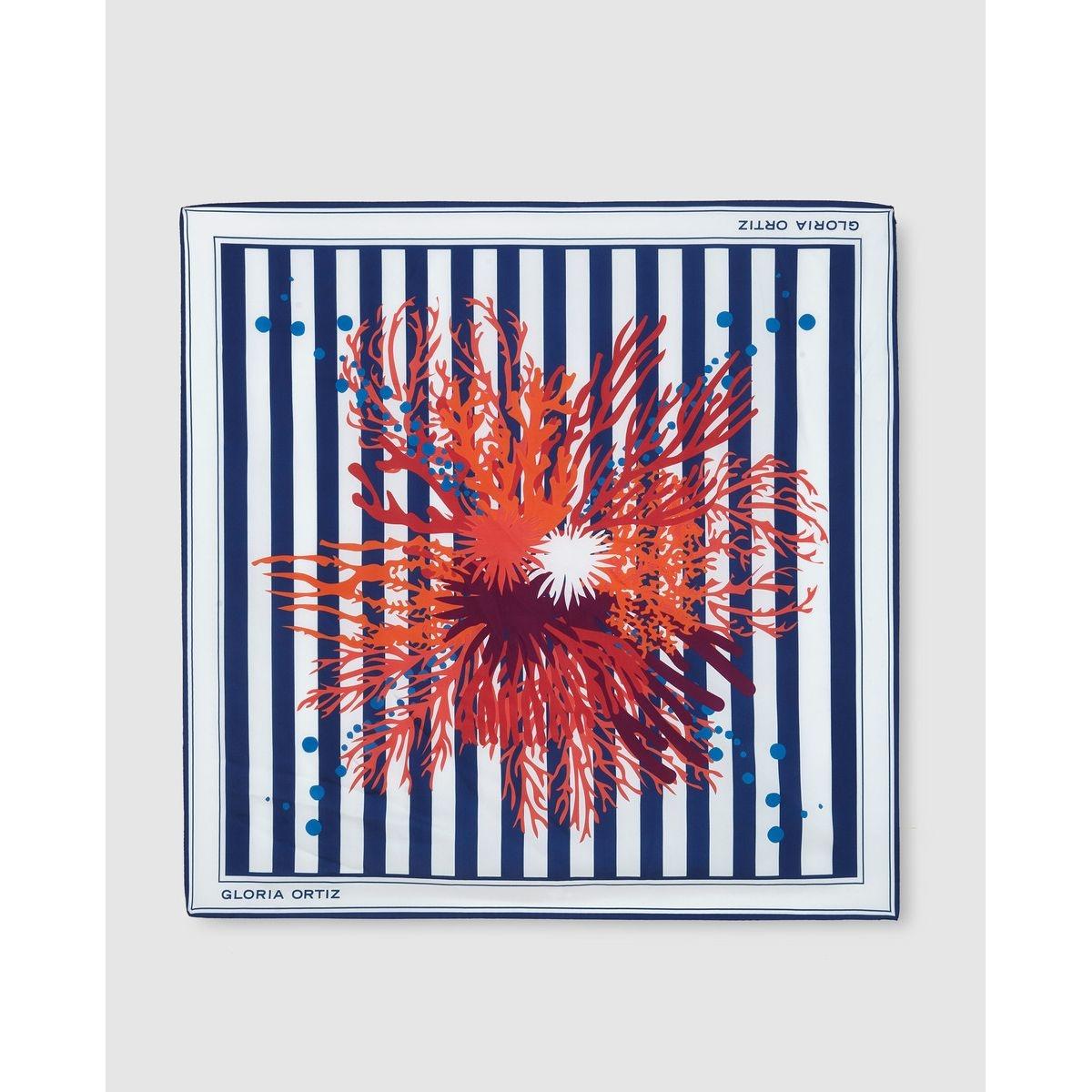 Foulard en soie  à rayures et imprimé contrastant