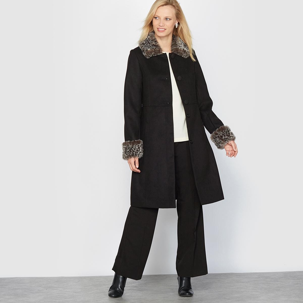 Пальто длинное под шерстяной драпПальто. Невероятно стильное пальто с отделкой, имитирующей мех, и имитацией кожи на воротнике и внизу рукавов .  Отрезная деталь по талии. Встречная складка сзади с хлястиком. Застежка на 3 невидимые пуговицы и 2 невидимые пуговицы, начиная с пояса. Прорезные карманы.Состав и описание:Материал: Красивая ткань под шерстяной драп 88% полиэстера, 10% вискозы, 2% эластана .Подкладка: 100% полиэстер.Длина 95 см.Марка: Anne Weyburn.Уход:Сухая чистка.Гладить при умеренной температуре.<br><br>Цвет: черный<br>Размер: 40 (FR) - 46 (RUS)