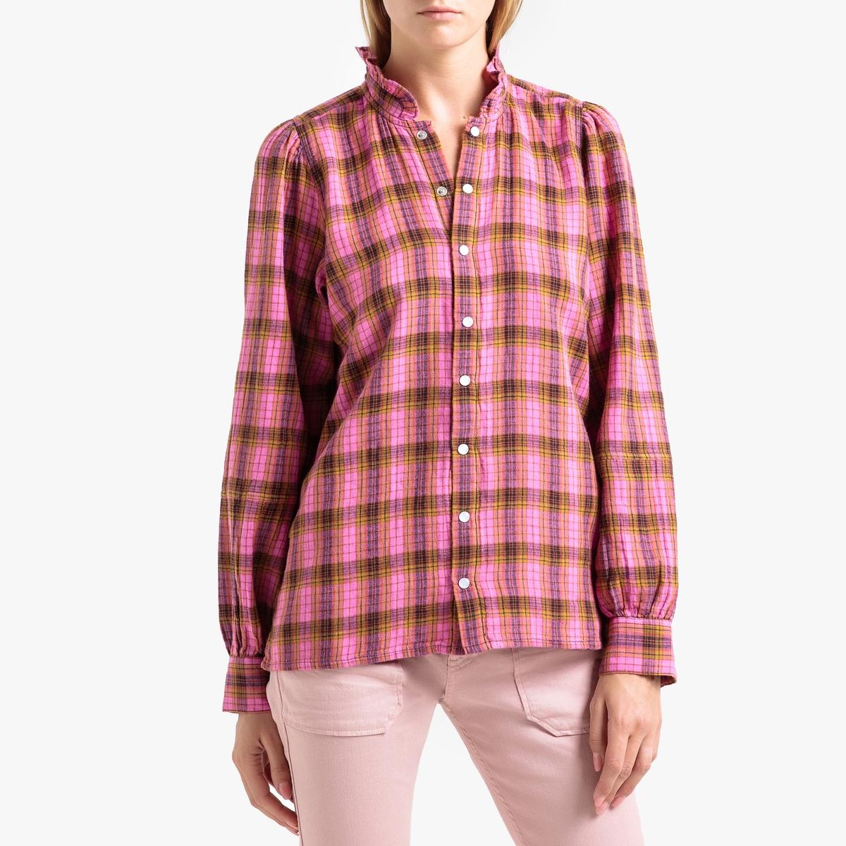 купить Блузка La Redoute С рисунком в клетку и воротником с воланом CANELLE 0(XS) розовый онлайн