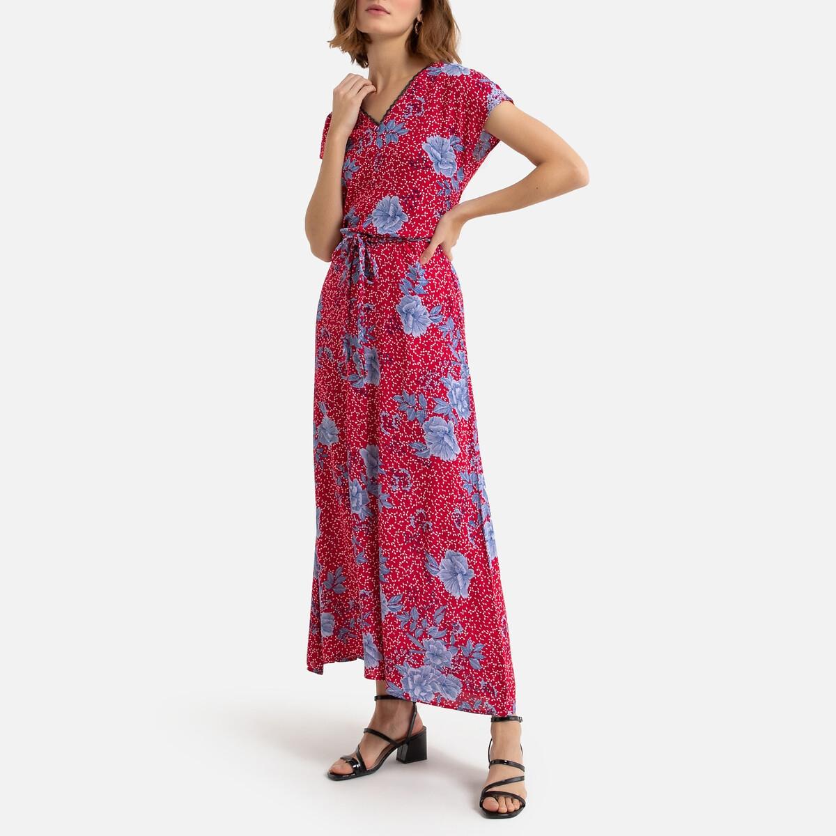 цена на Платье La Redoute Длинное с принтом и V-образный вырезом L красный