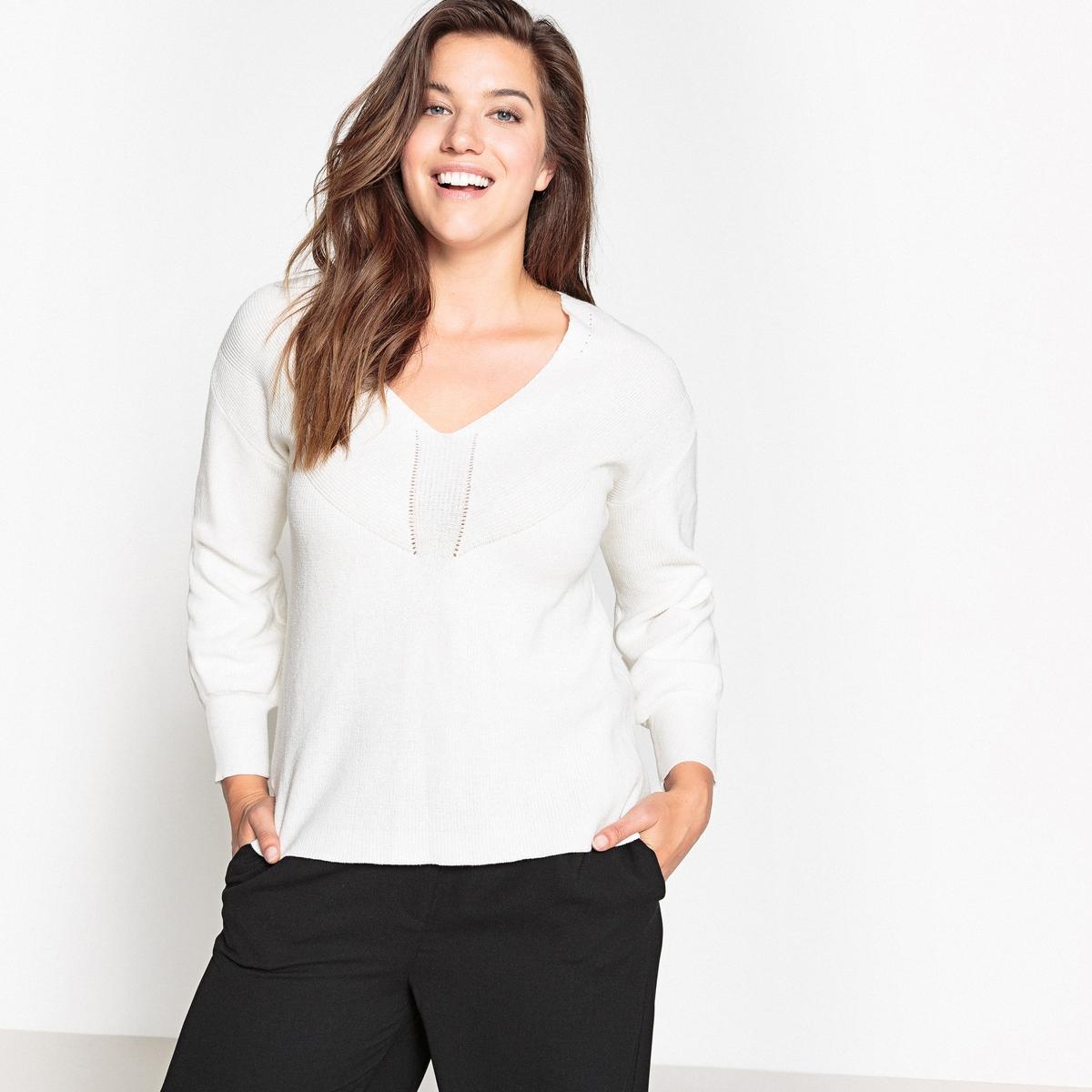 купить Пуловер из тонкого трикотажа с V-образным вырезом по цене 2064.3 рублей