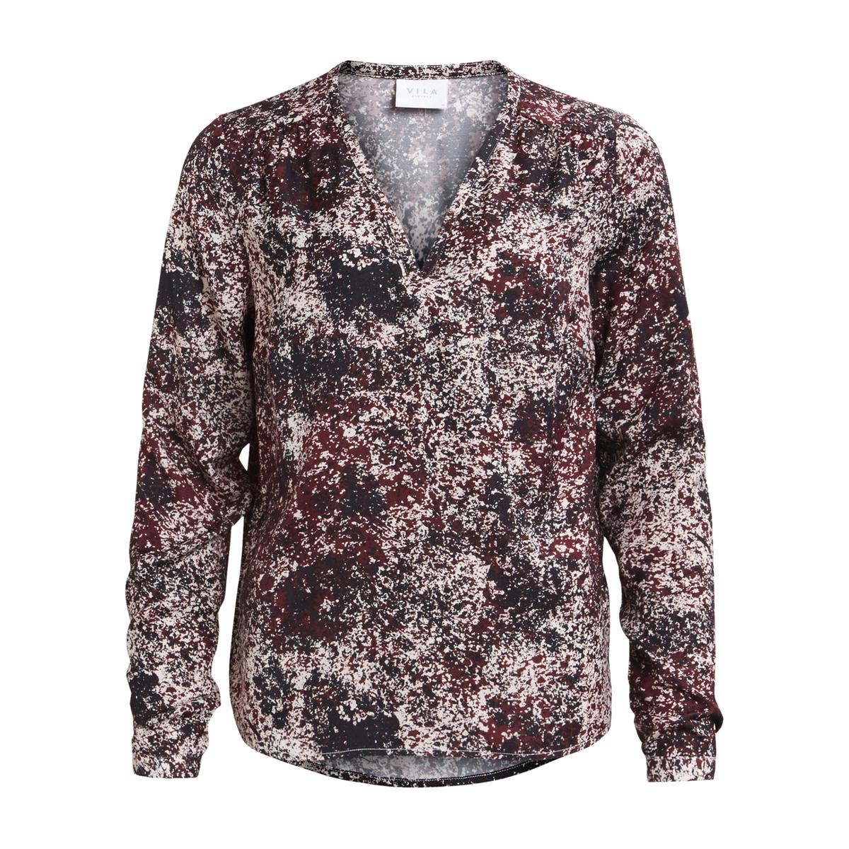 Блузка однотонная с V-образным вырезом и длинными рукавами блуза vila vila vi004ewupu77