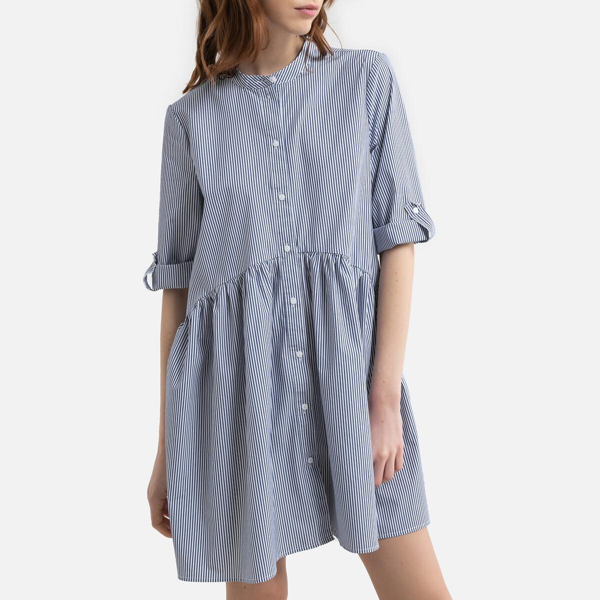 Фото - Платье-рубашка LaRedoute В полоску с воротником-стойкой рукава 34 M синий пижама laredoute с шортами в полоску m синий