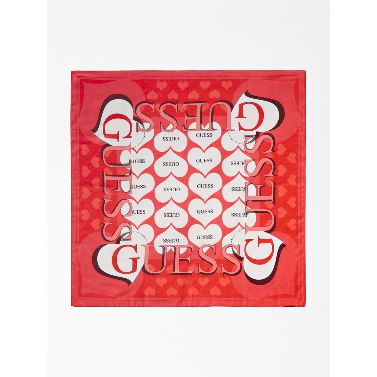 Foulard Imprime Cœurs Et Logo