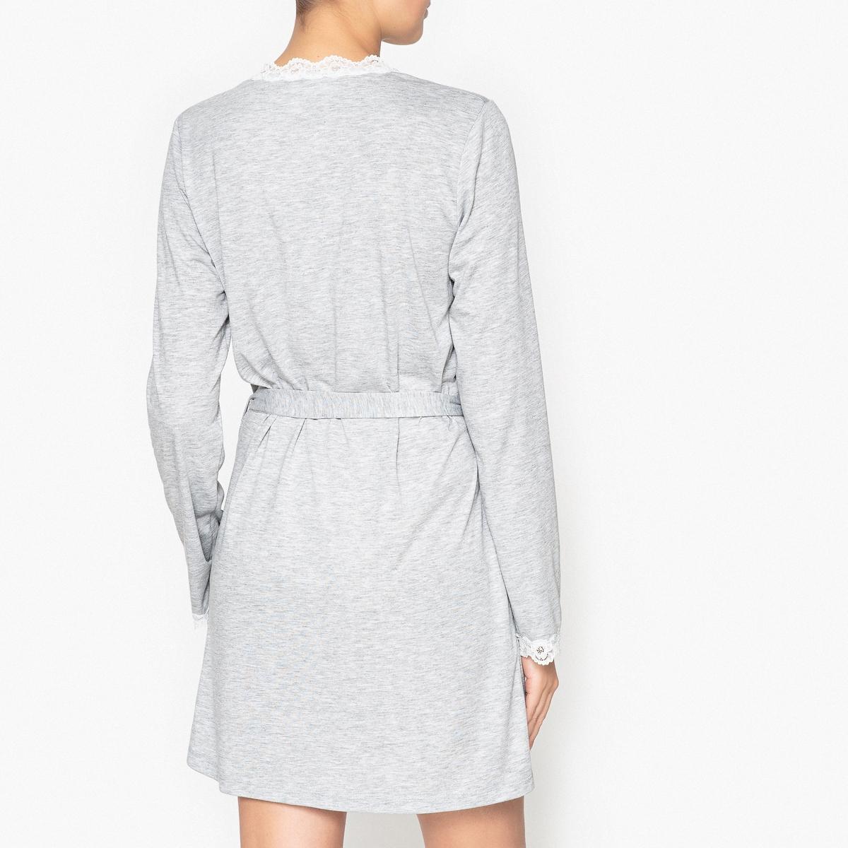 Платье домашнее с кружевной вставкой