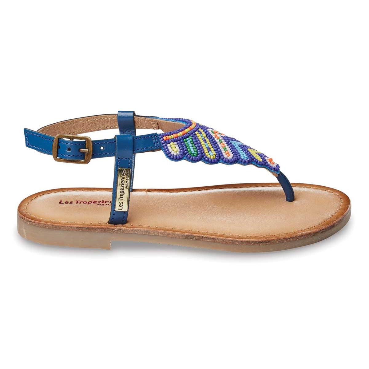 zapatillas Sandalias planas de piel con cuentas NUAGE, con tira entre los dedos