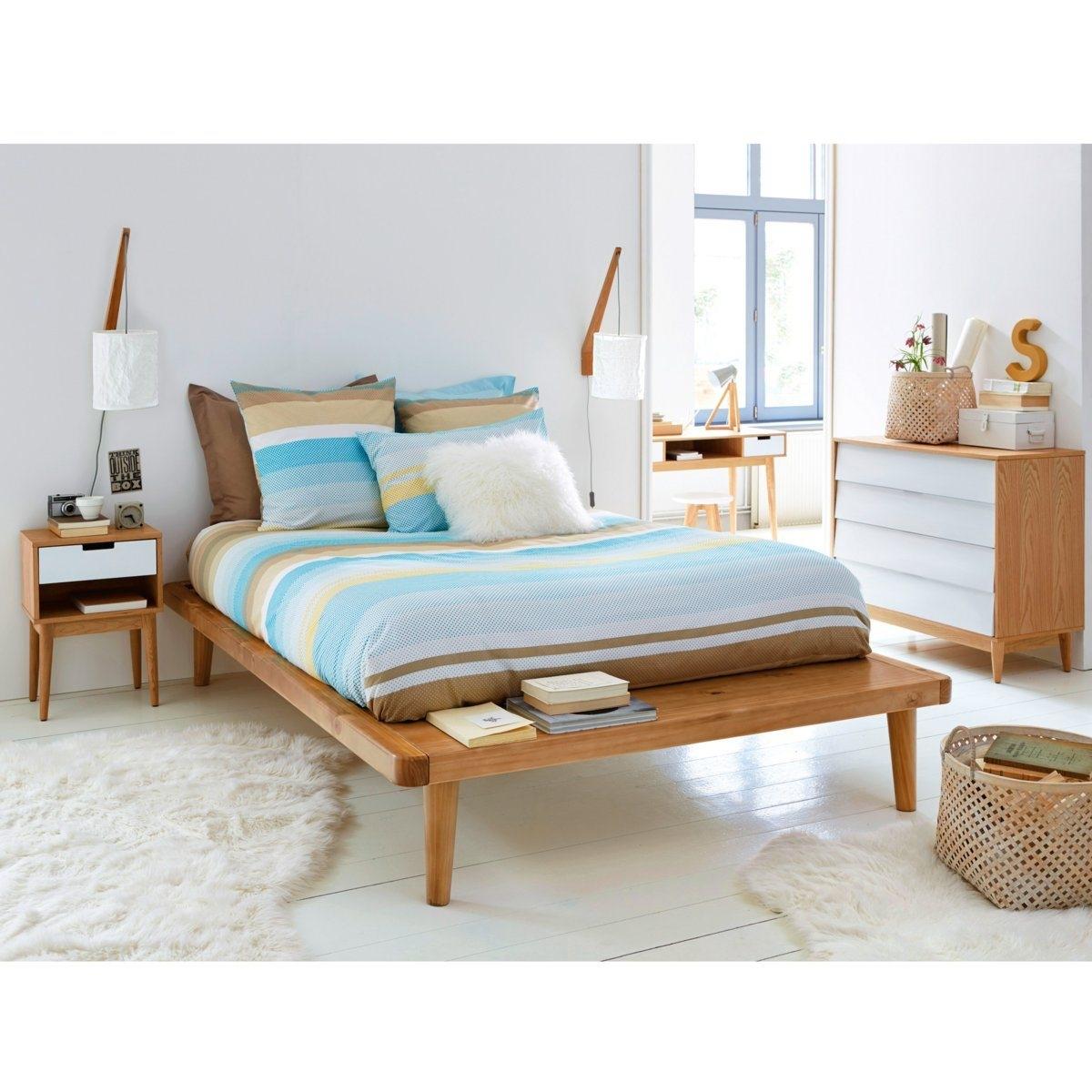 """Bett mit Ablage und Lattenrost \""""Jimi\"""", Kiefer massiv"""