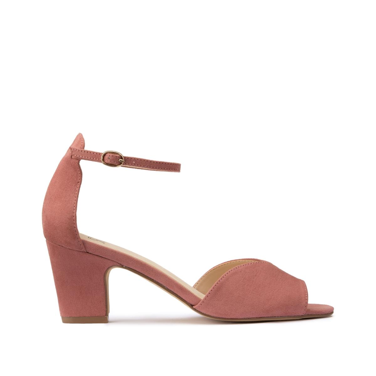цена Босоножки La Redoute С ремешком на среднем каблуке 41 розовый онлайн в 2017 году