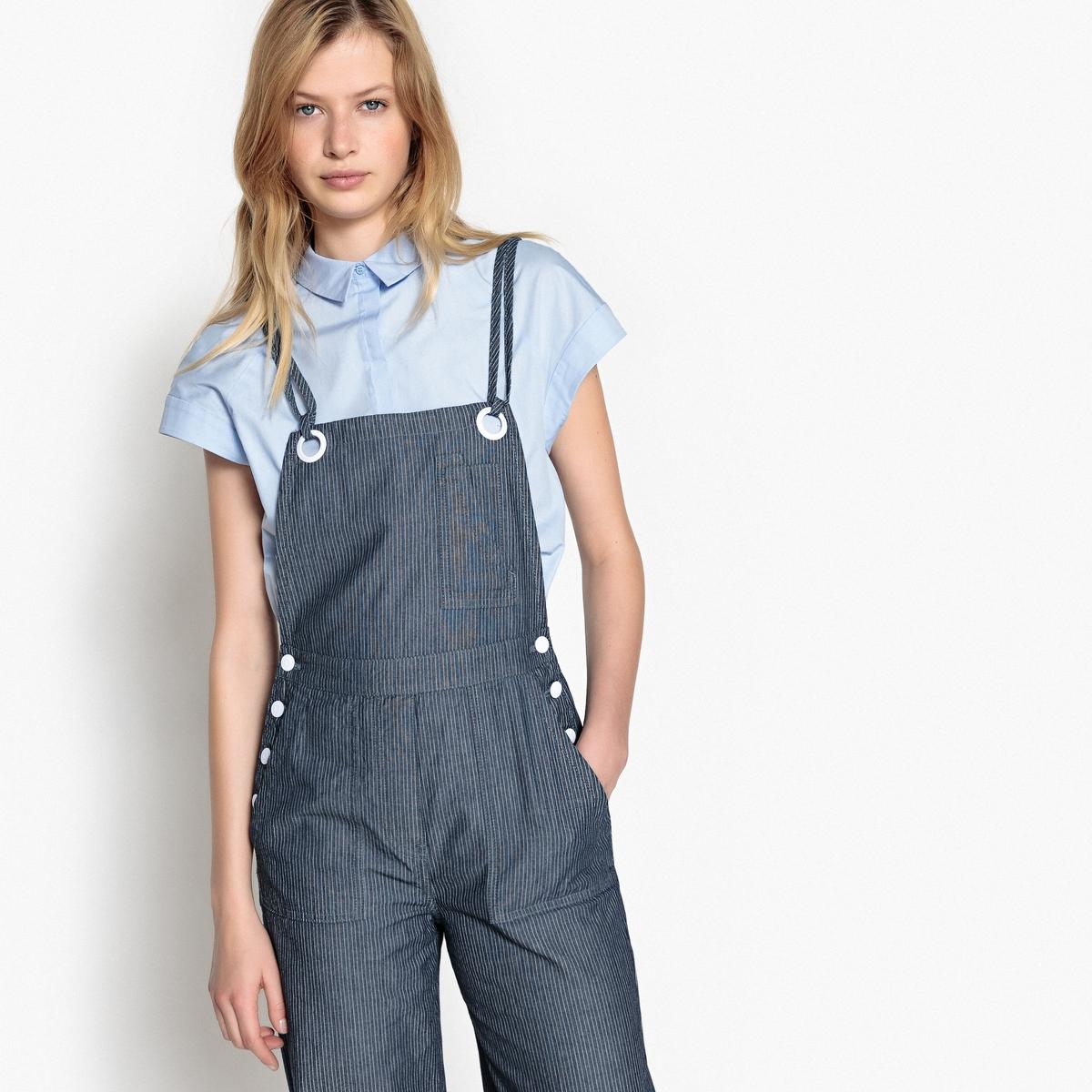 Комбинезон широкий в полоску на тонких бретелях из джинсовой ткани