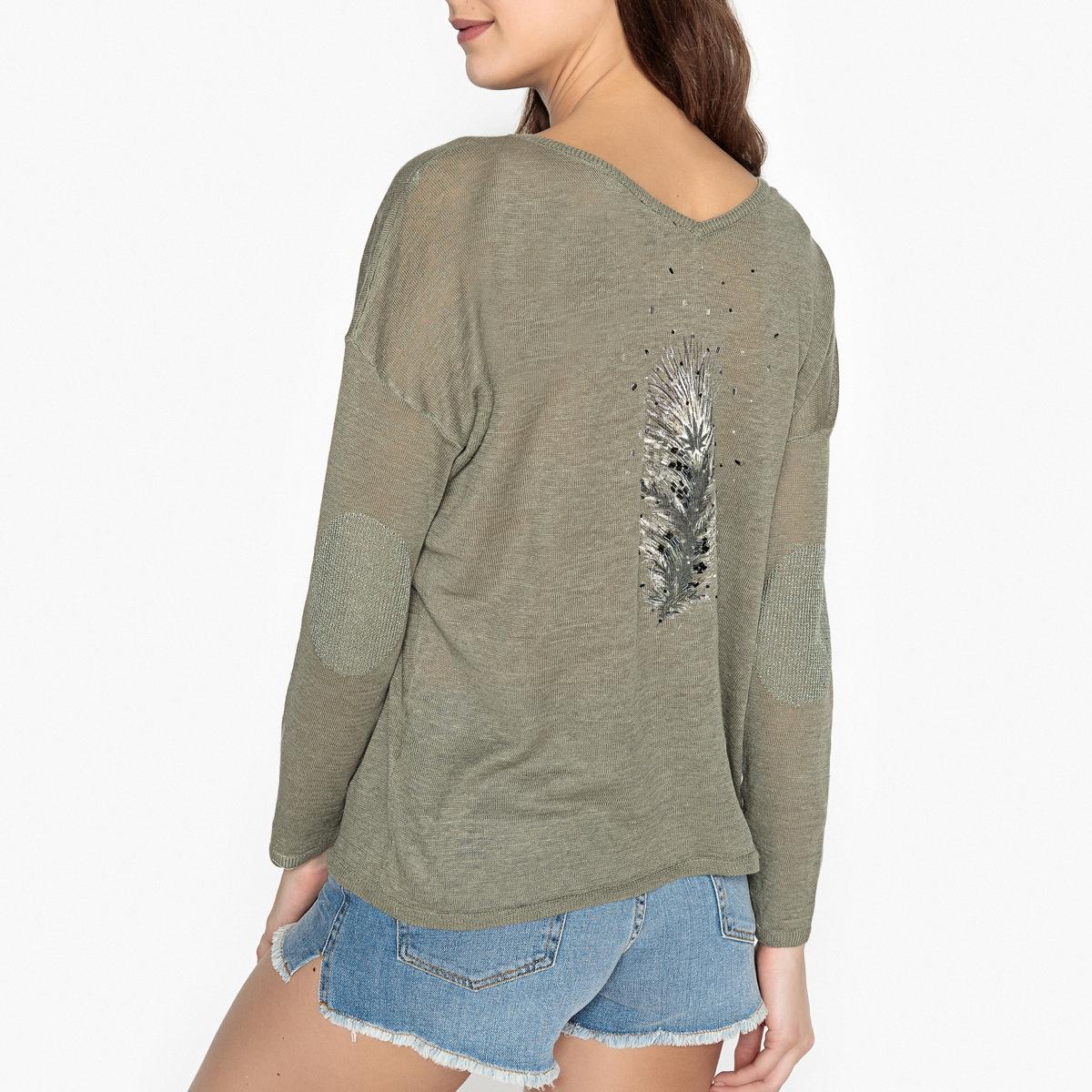 Пуловер из тонкого трикотажа льна и рисунком перо сзади PAULA