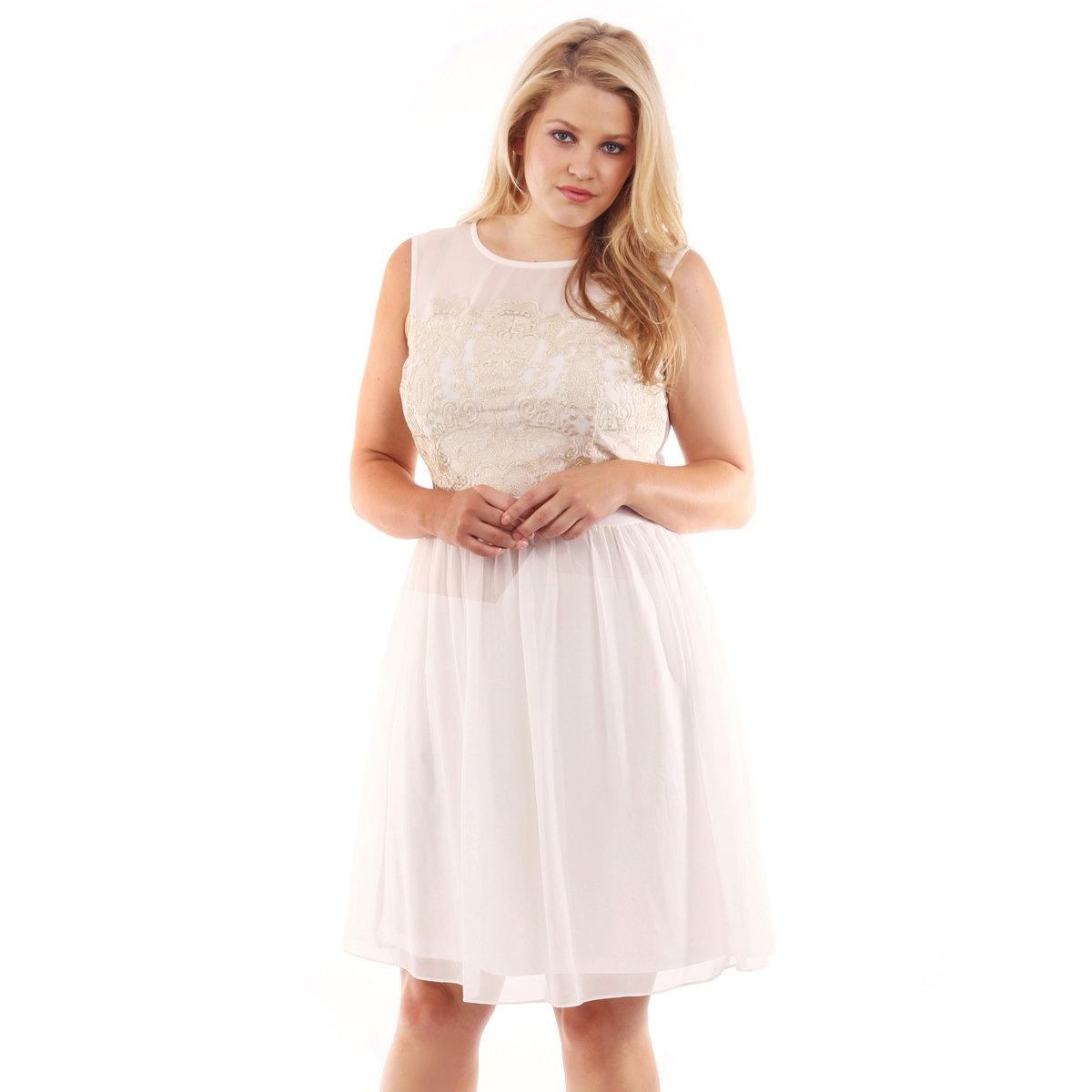 Платье короткоеПлатье короткое LOVEDROBE, без рукавов. Кружевной узор в верхней части платья. Длина ок.101 см. 100% полиэстера.<br><br>Цвет: слоновая кость/ золотистый<br>Размер: 58/60 (FR) - 64/66 (RUS)