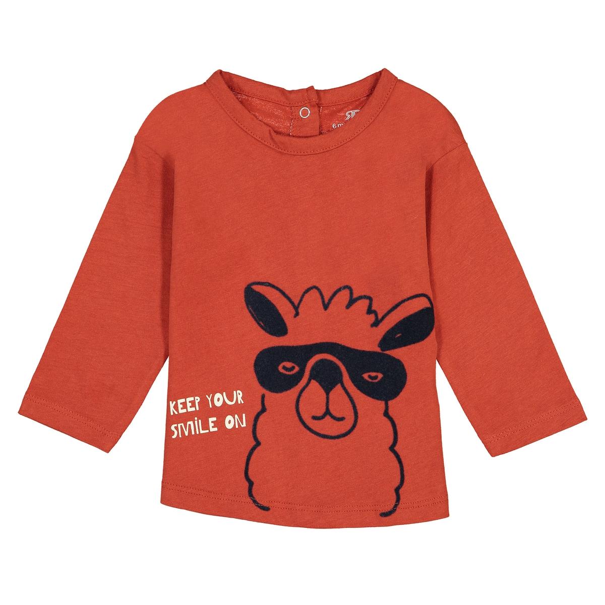 Футболка La Redoute С длинными рукавами и рисунком лама мес - мес 0 мес. - 50 см оранжевый свитшот la redoute с рисунком спереди мес лет 1 мес 54 см желтый