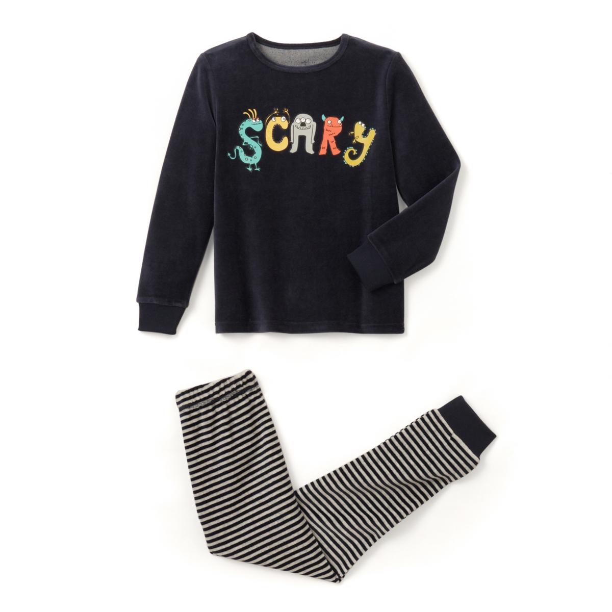 Пижама из велюра с принтом ''scary'' 2-12 лет