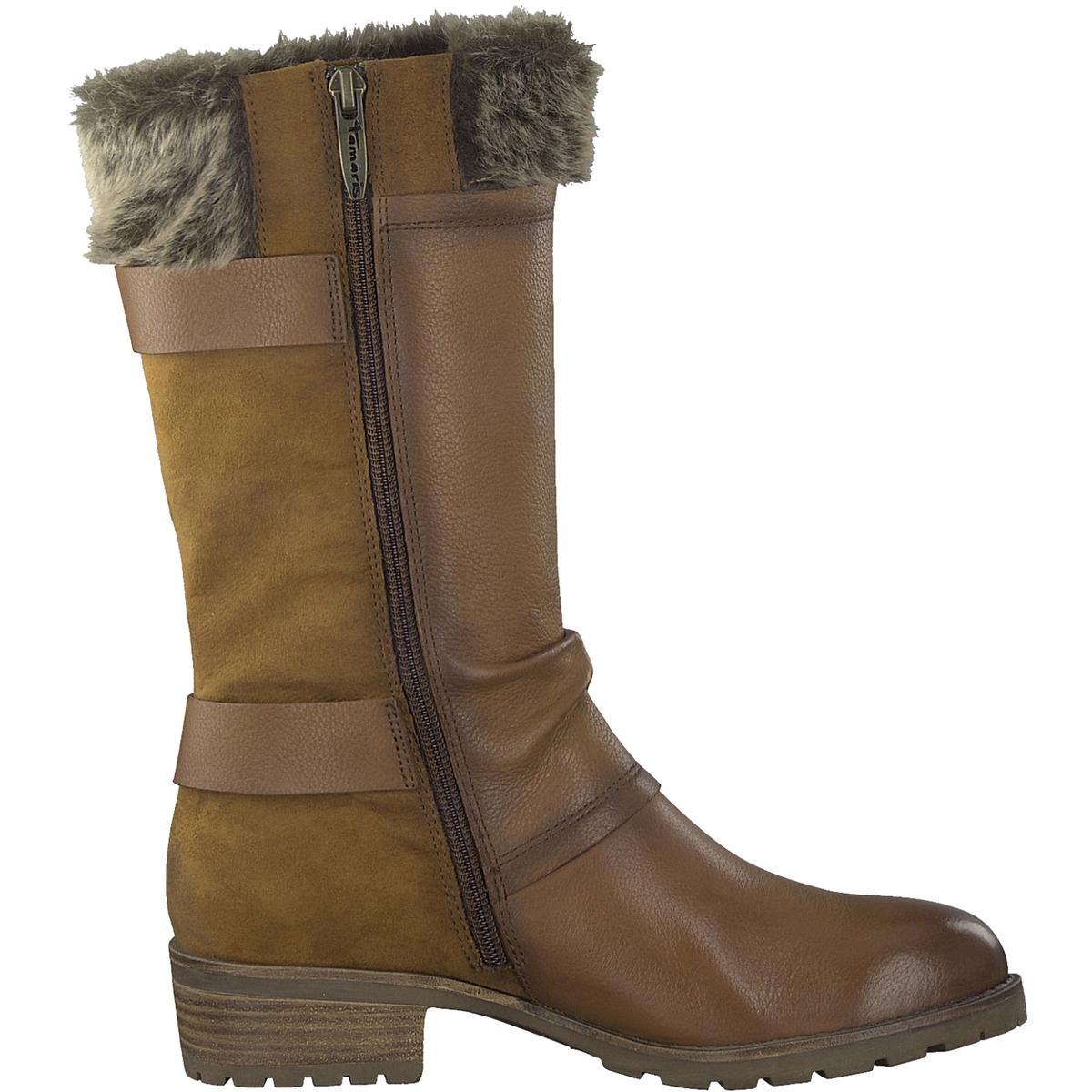 Сапоги кожаные ParaiДетали •  Классическая модель •  Широкий каблук •  Круглый мысок •  Застежка : на молнию •  Высота голенища : 28 см для размера 37 •  Высота каблука : 3 смСостав и уход •  Верх 50% кожи, 50% текстиля •  Подкладка 50% синтетического материала, 50% текстиля<br><br>Цвет: коньячный<br>Размер: 40.41.39