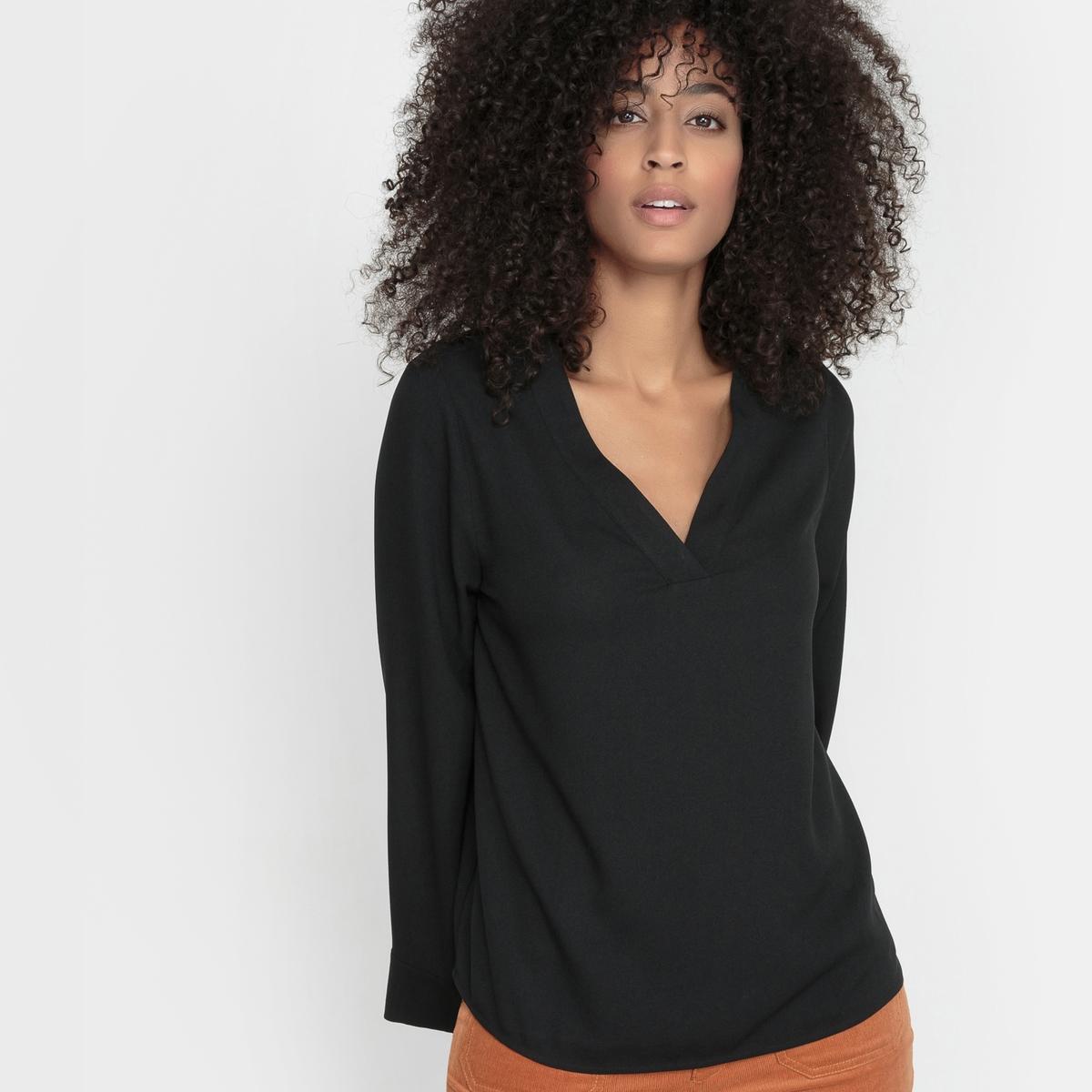 Блузка из струящегося крепа с расклешенными рукавами