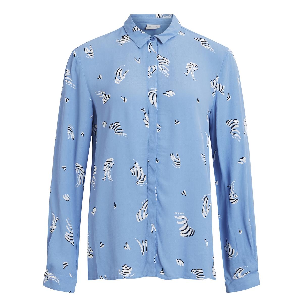 Рубашка La Redoute Струящаяся с рисунком 34 (FR) - 40 (RUS) синий бушлат la redoute с рисунком клетка 34 fr 40 rus синий