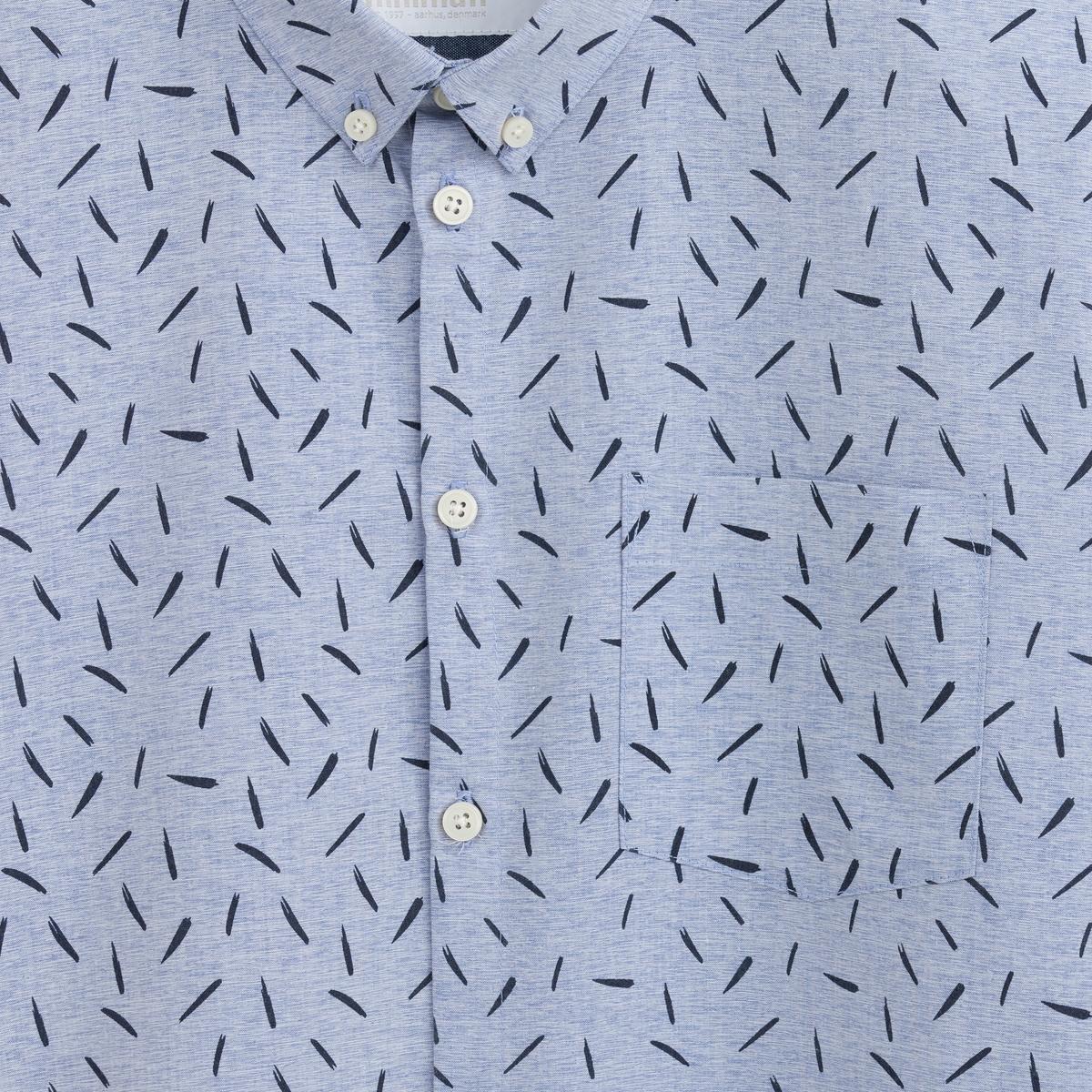 РубашкаРубашка MINIMUM.Рубашка MINIMUM100% хлопка. Края воротника на пуговицах. Длинные рукава.<br><br>Цвет: синий<br>Размер: S