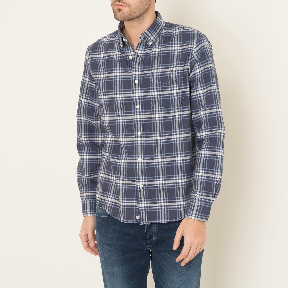 Рубашка в клеткуСостав и описание    Материал : 100% хлопок   Марка : Denim and Supply Ralph Lauren<br><br>Цвет: синий