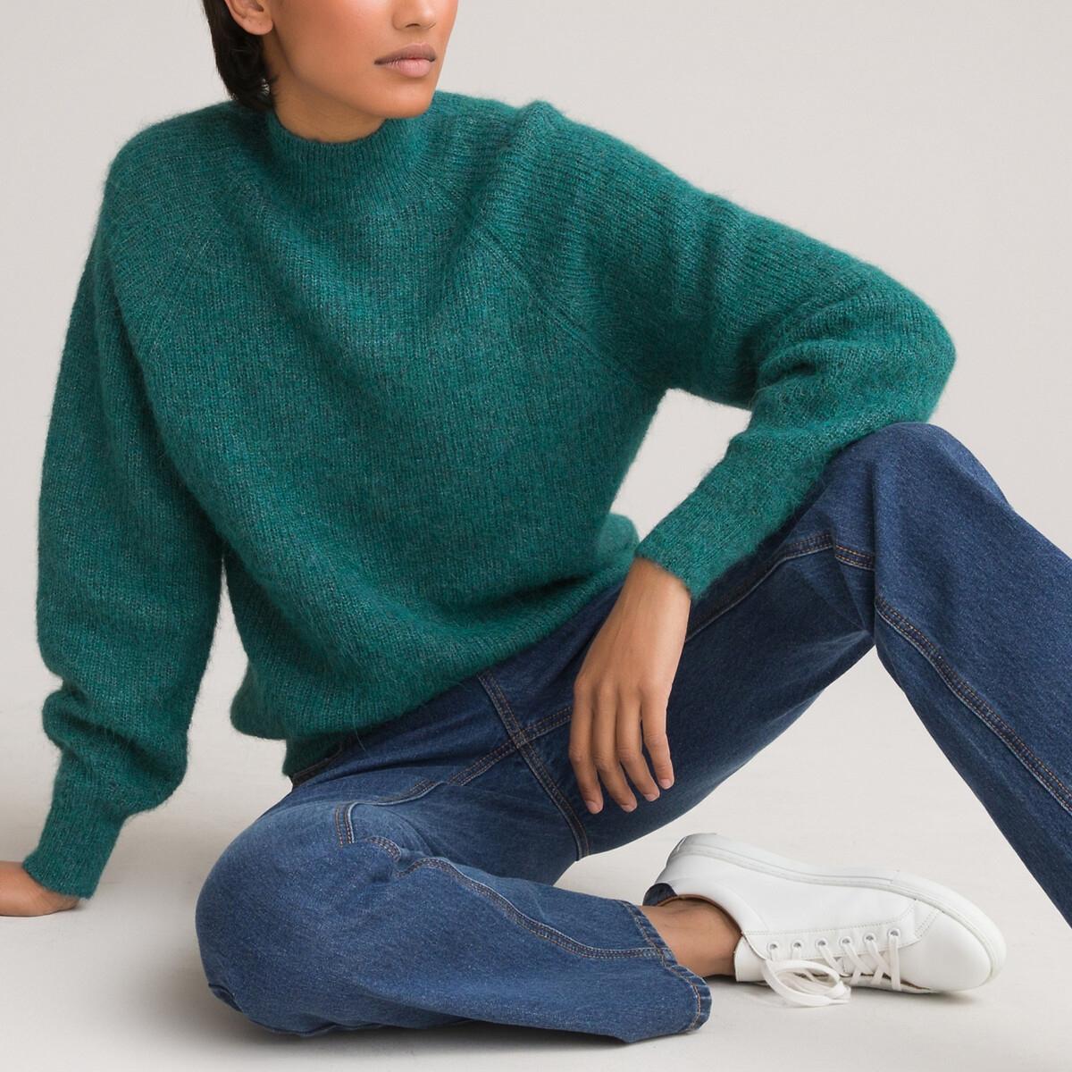 Фото - Пуловер LaRedoute С воротником-стойкой XL зеленый пуловер laredoute с воротником стойкой из ажурного трикотажа пуантель m каштановый