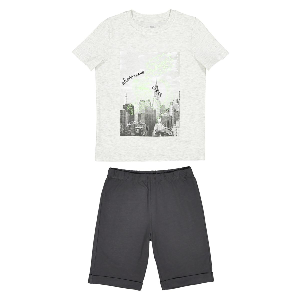 Пижама с шортами с рисунком, 2-12 лет пижама с шортами с рисунком