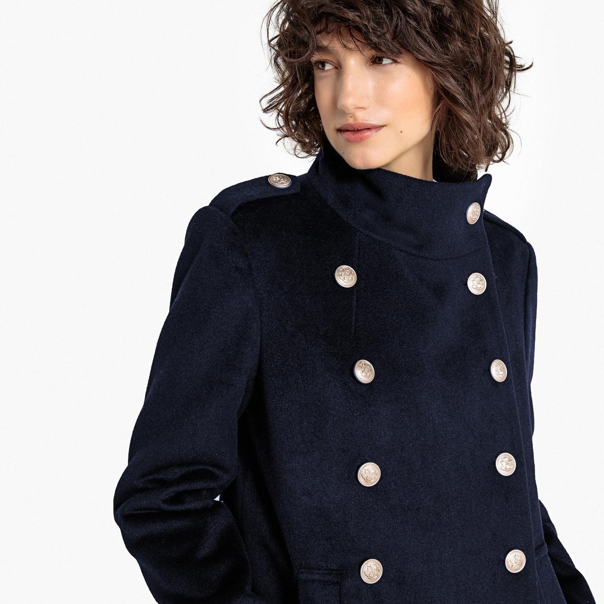 Abrigo largo con mezcla de lana, estilo militar