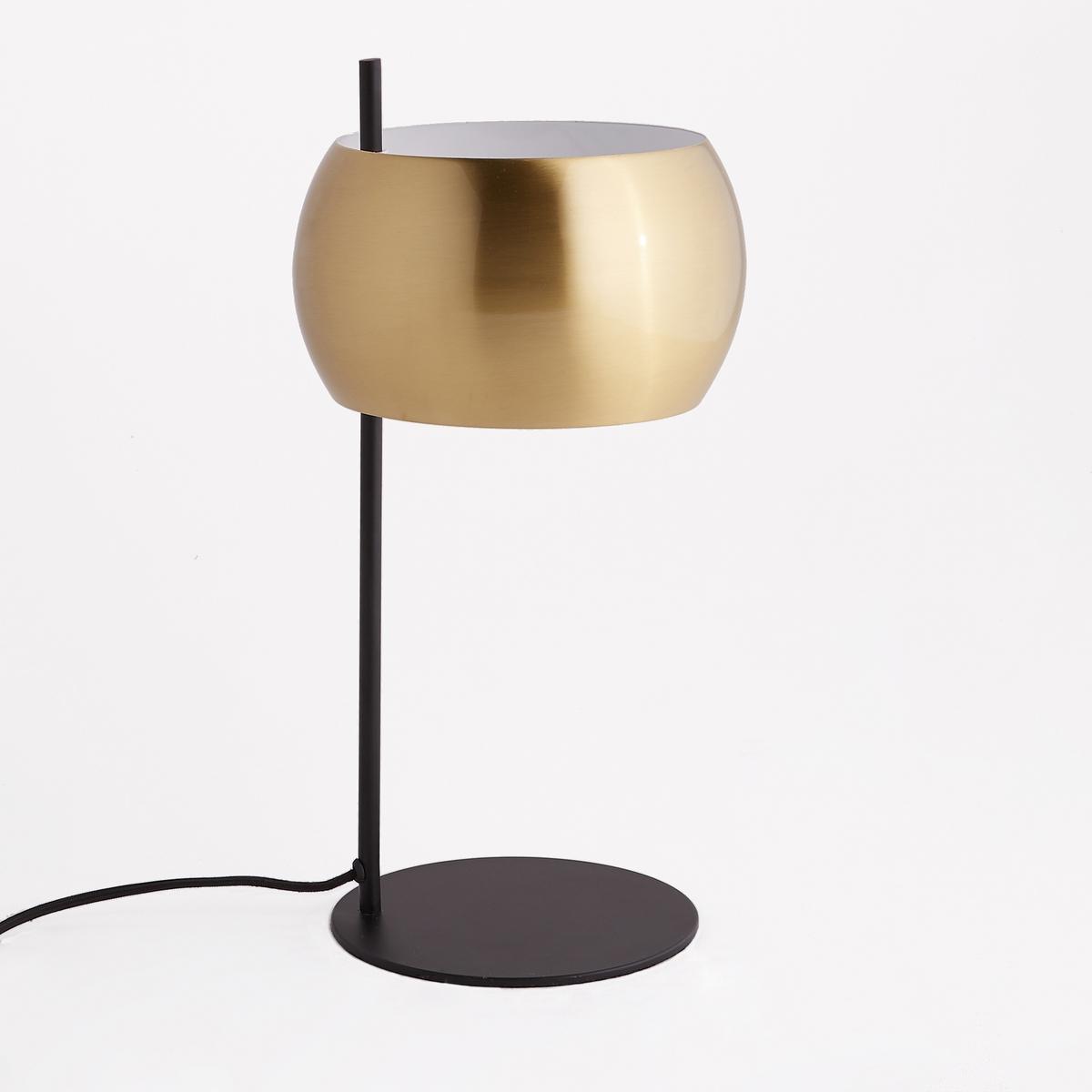 Лампа настольная из металла черного цвета и латуни, Elori бра из черного металла и металла с отделкой под латунь elori