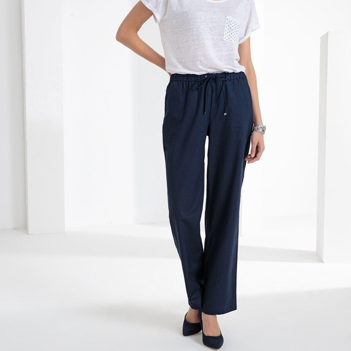 Pantalon large, lin & coton